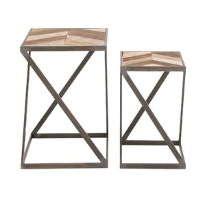 2 Piece Metal and Wood End Table Set by Cole & Grey