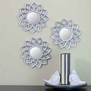 Wrought Studio Rojas Floral Arches Round Accent Mirror (Set of 3)