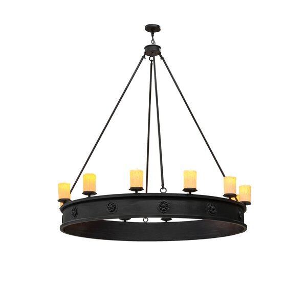 Tague 12 - Light Candle Style Wagon Wheel Chandelier by Foundry Select Foundry Select