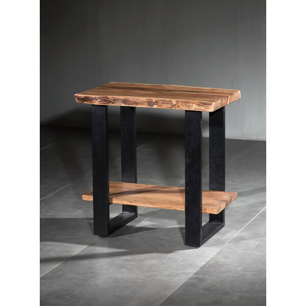 Keya Live Edge Wooden 2 Shelf End Table by Union Rustic