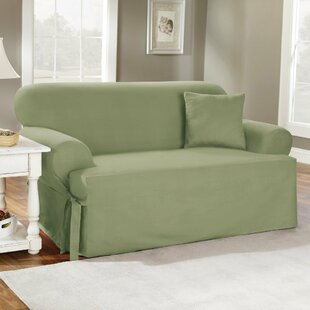 Read Reviews Cotton Duck T-Cushion Loveseat Slipcover By Sure Fit