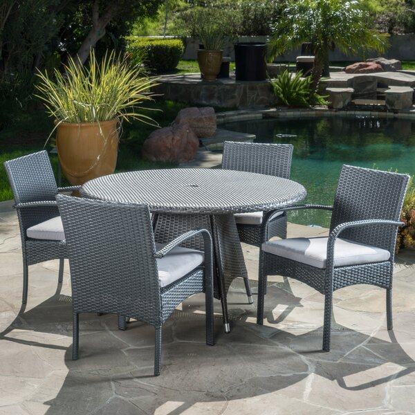 Alden 5 Piece Outdoor Dining Set With Coshions By Wade Logan by Wade Logan Find