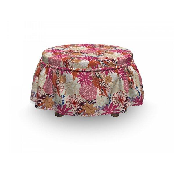 Flower Vivid Floral Arrangement 2 Piece Box Cushion Ottoman Slipcover Set By East Urban Home