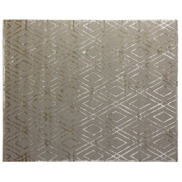 Hand-Knotted Wool/Silk Gray Area Rug by Exquisite Rugs
