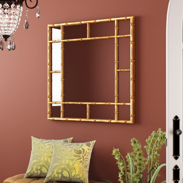 Square Bamboo Accent Mirror by World Menagerie