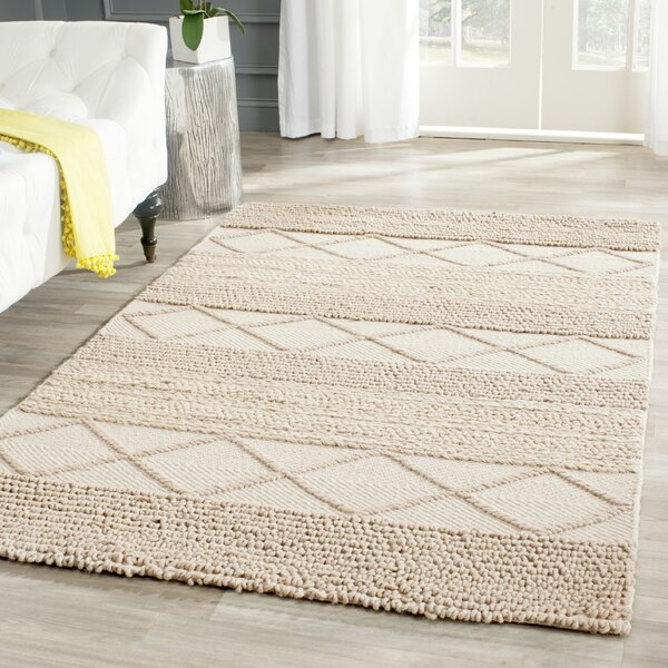 Williston Highlands Beige Tufted Wool Area Rug by Beachcrest Home