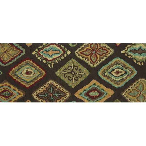 Grenkie Hand-Hooked Brown/Blue Area Rug by Ebern Designs