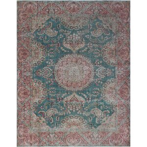 Bergland Vintage Distressed Hand Knotted Wool Green Area Rug