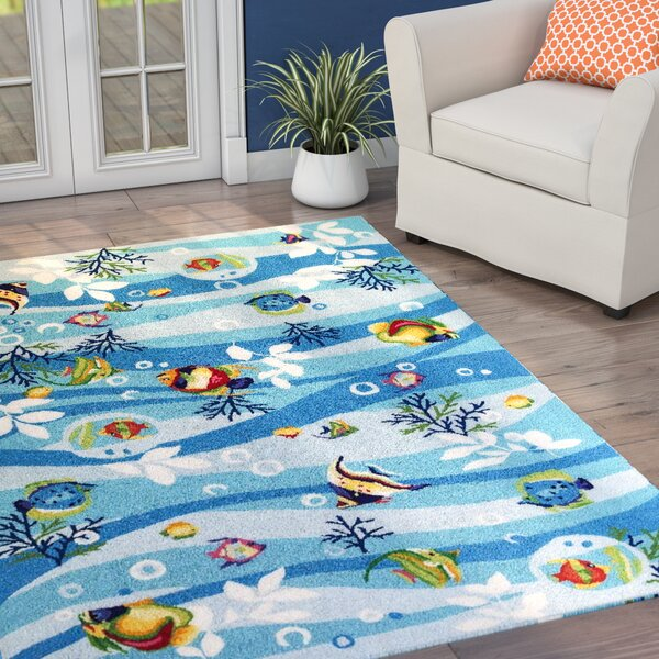 Kelch Blue Tropical Fish Area Rug by Beachcrest Home