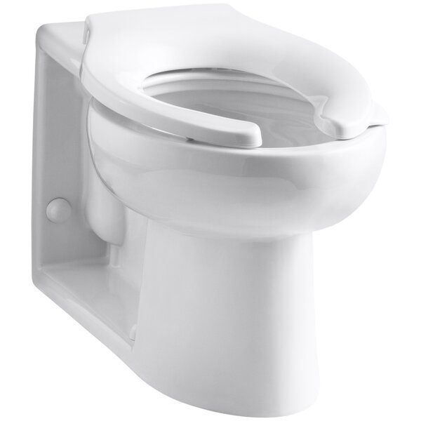 Anglesey Floor-Mounted Wall-Outlet 1.6 GPF Flushometer Valve Elongated Bowl with Rear Inlet by Kohler