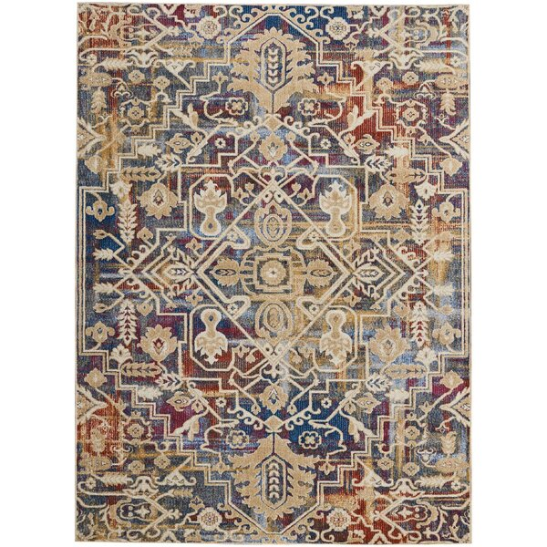 Landen Beige/Blue Area Rug by Bloomsbury Market