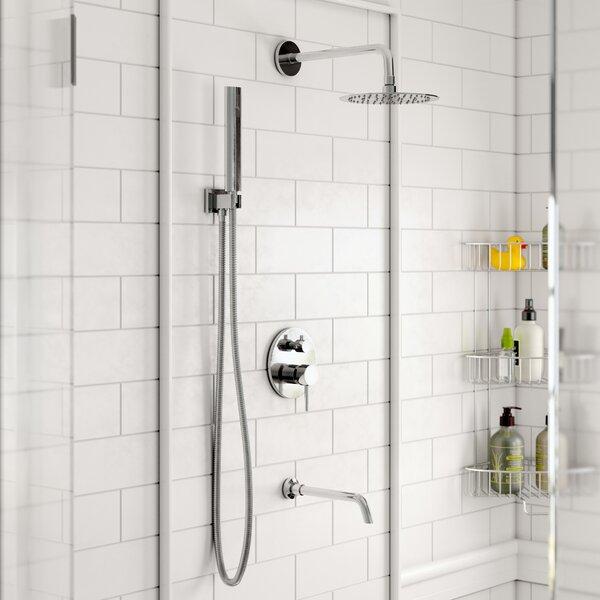 Bustillos Diverter Complete Shower System with 8 Inch Rain Shower, Handheld and Tub Filler - Includes Rough-In Valve by Rebrilliant