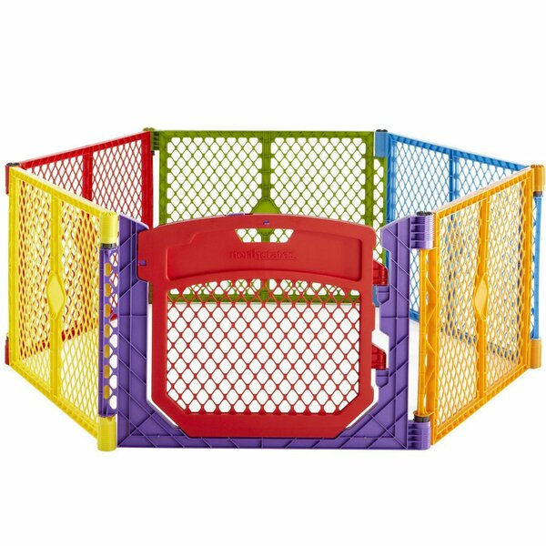 North States Superyard Colorplay Ultimate Freestanding 6 Panel Yard Kennel by North States