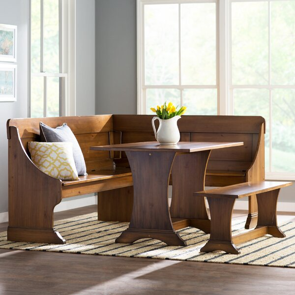 Rockport 3 - Piece Solid Wood Breakfast Nook Dining Set By Three Posts