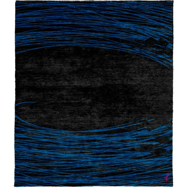 One-of-a-Kind Angelena Hand-Knotted Traditional Style Blue/Black 9' x 12' Wool Area Rug