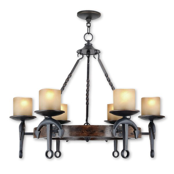 Liam 6-Light Shaded Wagon Wheel Chandelier by Loon Peak Loon Peak