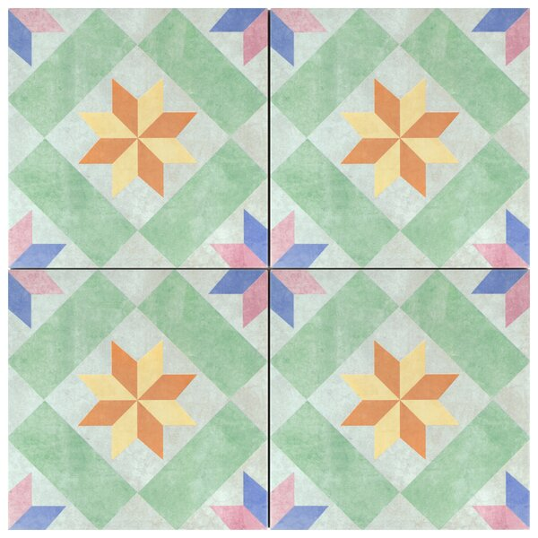 Berria Star 9.75 x 9.75 Porcelain Field Tile in Green by EliteTile