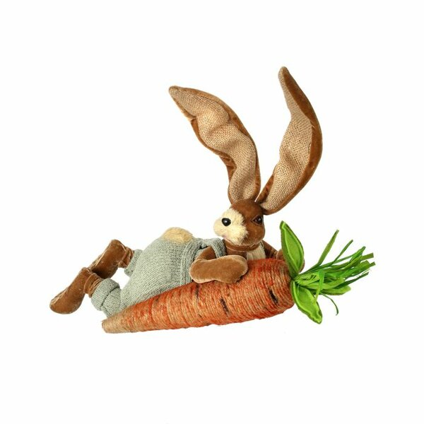 Dyal Laying Long Ear Bunny with Carrot Figurine by The Holiday Aisle