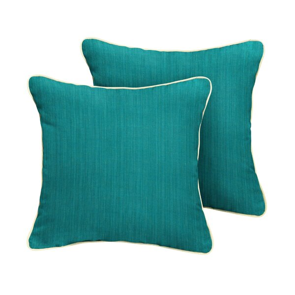 Crowley Sunbrella Dupione Deep Sea Outdoor Throw Pillow (Set of 2) by Red Barrel Studio