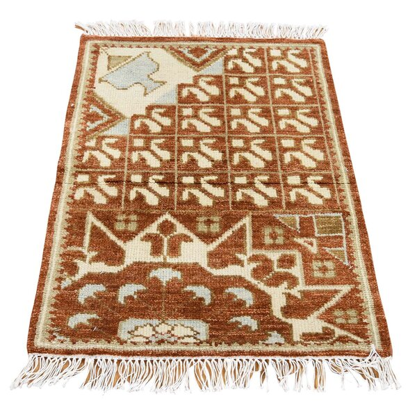 One-of-a-Kind Gowdy Hand-Knotted Rooibos Tea Area Rug by Bloomsbury Market