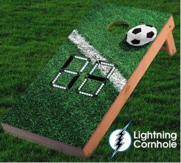 Electronic Scoring Soccer Goal Line Cornhole Board by Lightning Cornhole