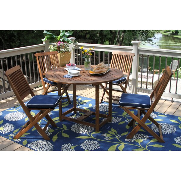 Wiscon Round Fold and Store 5 Piece Dining Set by Beachcrest Home
