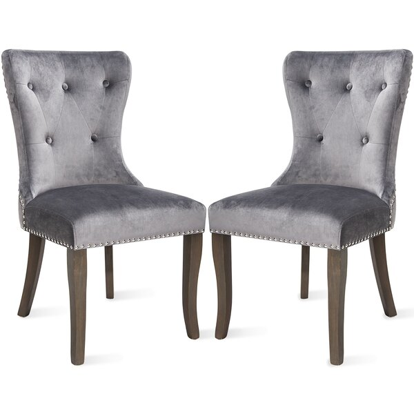 Porchella Velvet Upholstered Dining Chair in Gray (Set of 2) by Red Barrel Studio Red Barrel Studio