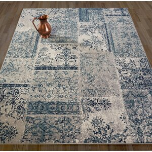 Travis Floral Patchwork Gray/Teal Area Rug