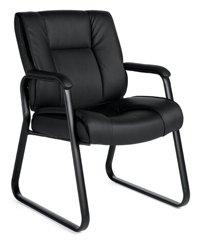 Stack and Sled Base Leather Guest Chair by Offices To Go