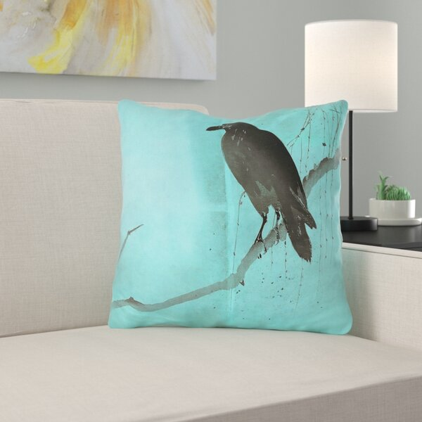 Hansard Crow and Willow Square Outdoor Throw Pillow by Latitude Run