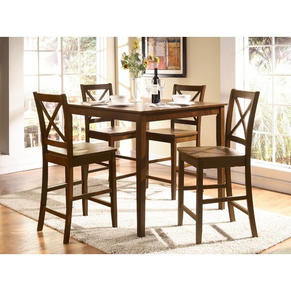 Hiott 5 Piece Counter Height Solid Wood Dining Set by Red Barrel Studio