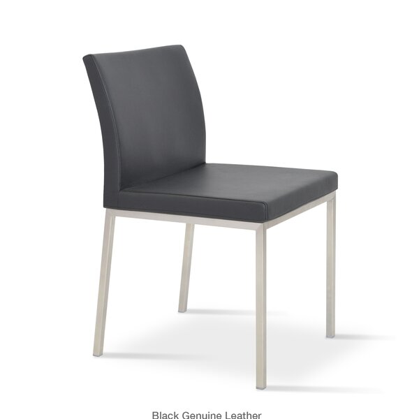 Aria Parsons Chair in Genuine Leather Upholstered Dining Chair by sohoConcept