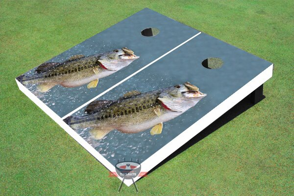 Bass out of Water Cornhole Board (Set of 2) by All American Tailgate