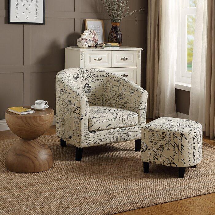 Savion Retro Living Room Barrel Chair and Ottoman
