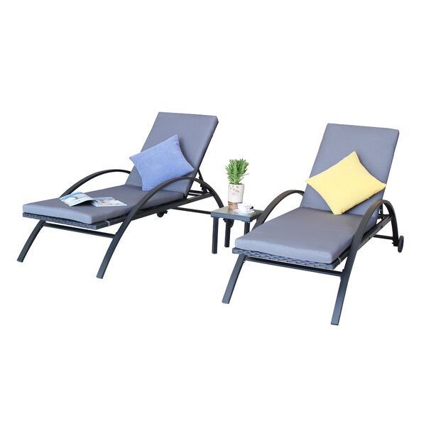 Liggins Outdoor Sun Lounger Set with Cushion (Set of 2) by Latitude Run Latitude Run