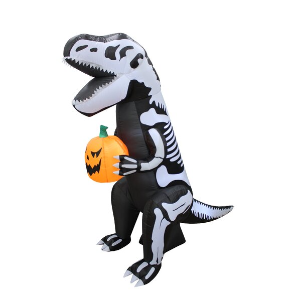Skeleton Dinosaur with Pumpkin Yard Halloween Inflatable by The Holiday Aisle