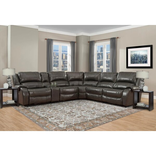 Darmont Leather 121'' Reclining Sectional By Latitude Run