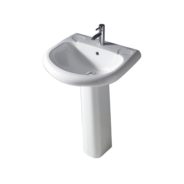 Orient Lavatory Vitreous China 26 Pedestal Bathroom Sink with Overflow