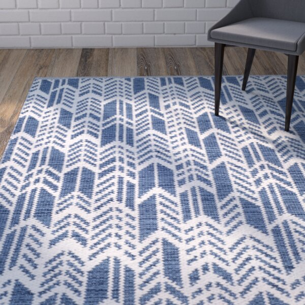 Paz Hand-Woven Navy/Ivory Area Rug by Wrought Studio