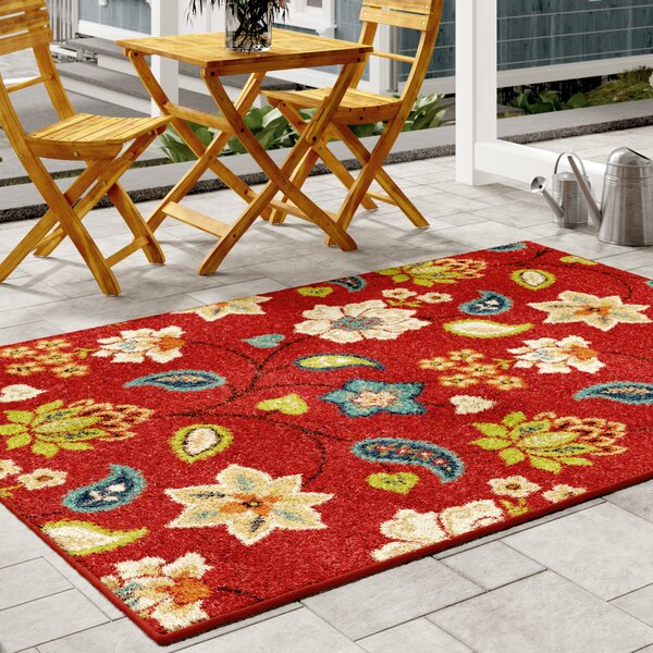 Lymon Red Indoor/Outdoor Area Rug by Threadbind