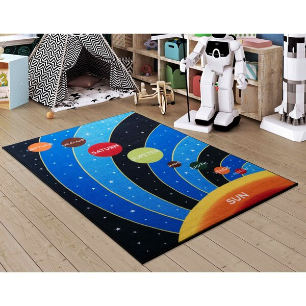 Ronin Galaxy Blue/Black Area Rug by Zoomie Kids