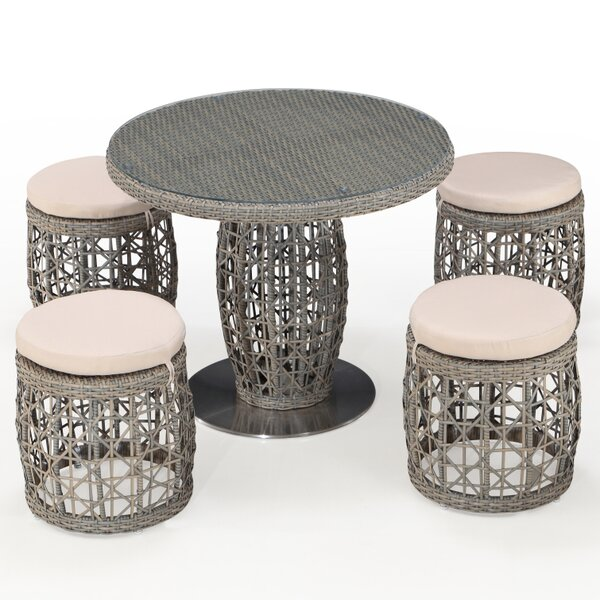 Tiya 5 Piece Dining Set with Cushions by Bungalow Rose