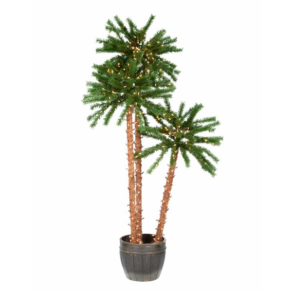 c3a454b8865 Potted Outdoor 6 Green Tropical Artificial Christmas Tree With 500 Clear  Lights By The Holiday Aisle