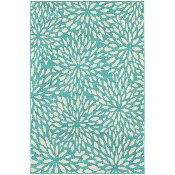 Kailani Contemporary Aqua blue IndoorOutdoor Area Rug by Beachcrest Home