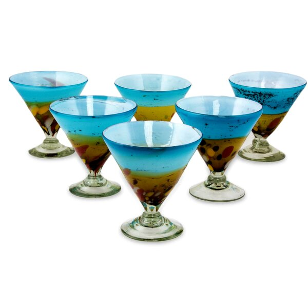 Amber Riviera 8 oz. Martini Glass Set (Set of 6) by Novica