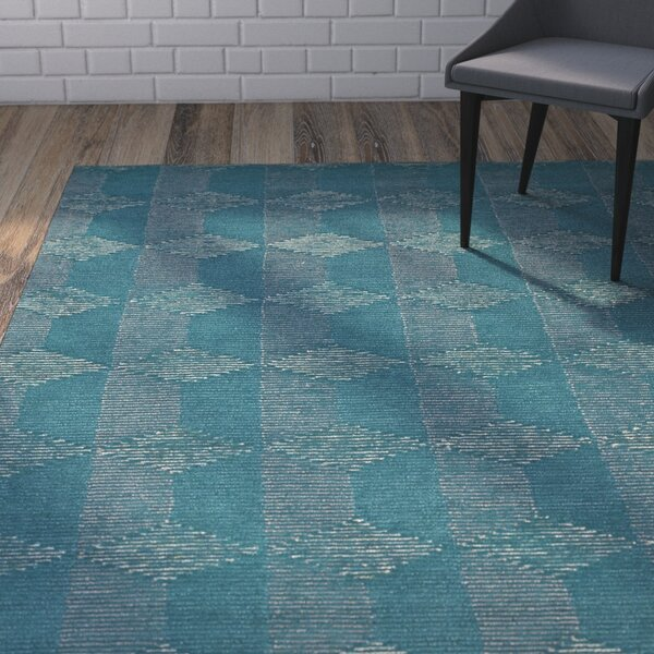 Cilegon Handmade Teal Area Rug by Wrought Studio