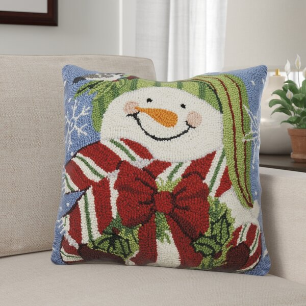 Maspeth Snowman with Wreath Wool Throw Pillow by The Holiday Aisle