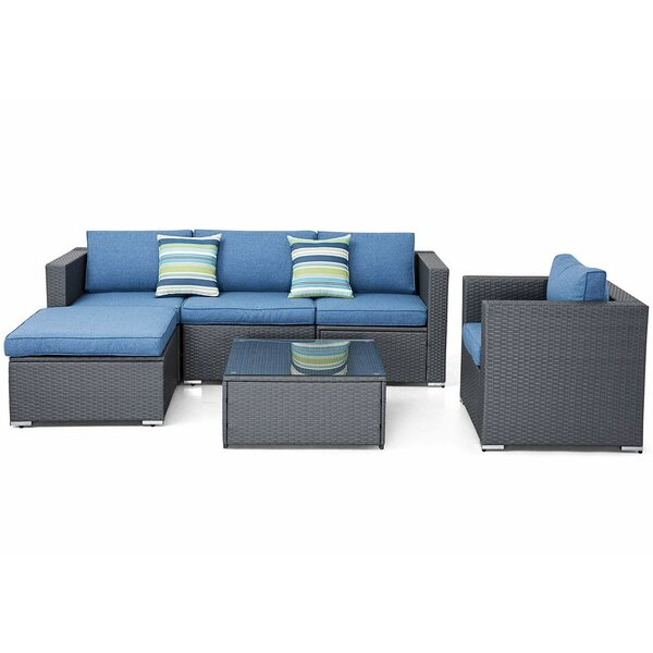 Parkdale 6 Piece Sectional Seating Group with Cushions by Highland Dunes