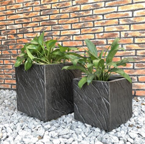Mcclendon Oblique Line Square 2-Piece Concrete Pot Planter Set by Union Rustic