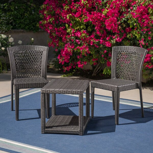 3 Piece Rattan Seating Group by Bungalow Rose Bungalow Rose